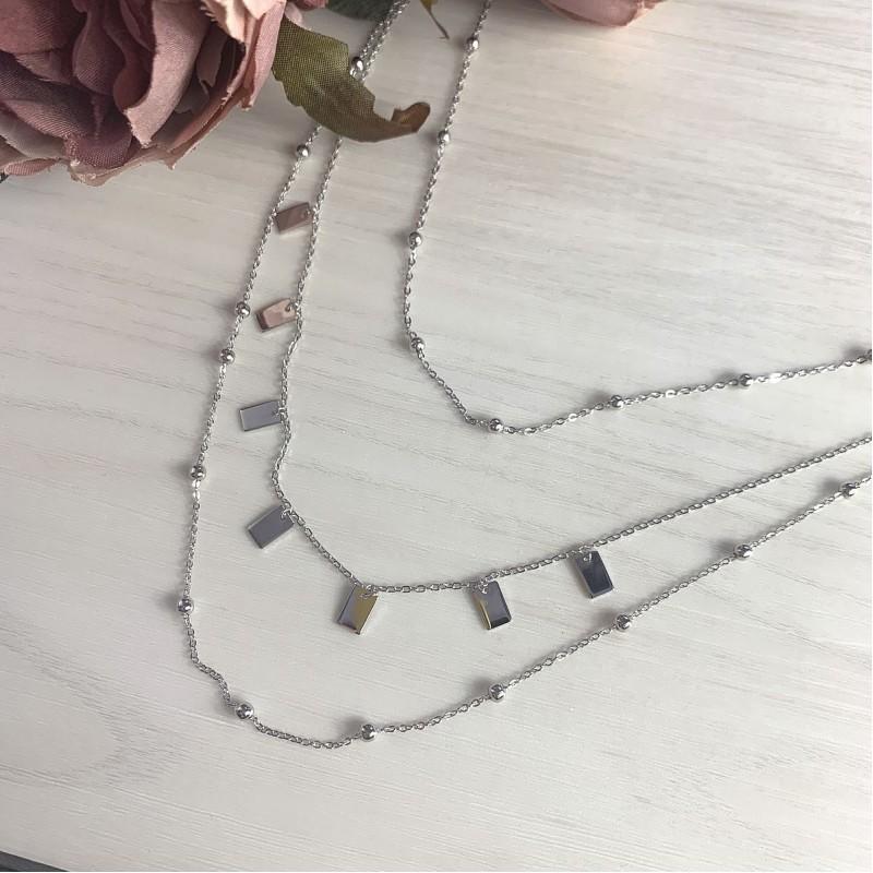 Серебряное колье SilverBreeze без камней (2014270) 400430 размер