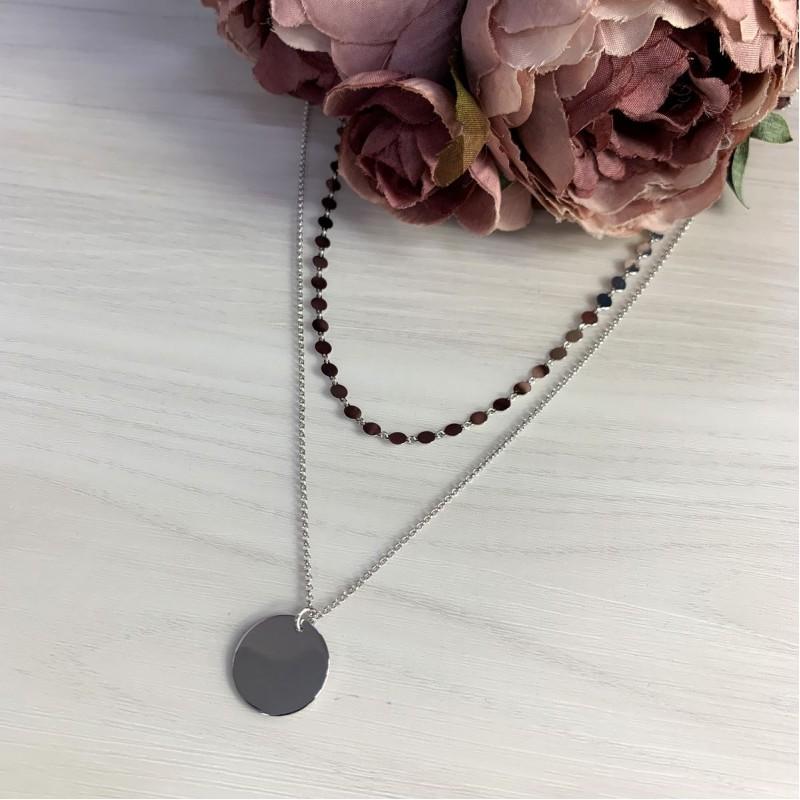 Серебряное колье SilverBreeze без камней (2006077) 450500 размер