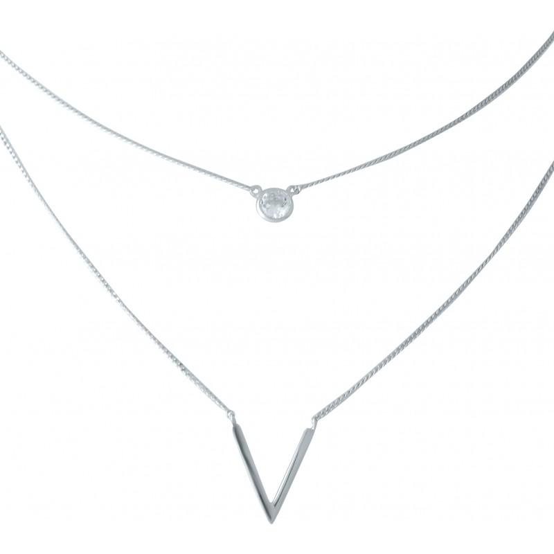 Серебряное колье SilverBreeze с фианитами (1952870) 450500 размер