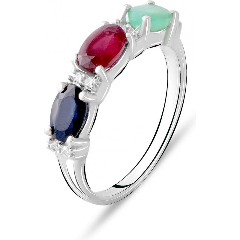 Серебряное кольцо SilverBreeze с натуральным сапфиром, изумрудом, рубином (2076001) 17.5 размер