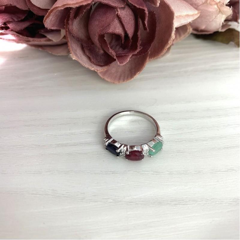Серебряное кольцо SilverBreeze с натуральным сапфиром, изумрудом, рубином (2076001) 18.5 размер