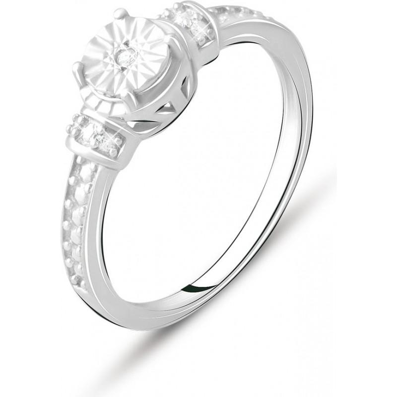 Серебряное кольцо SilverBreeze с натуральными бриллиантом 0.05ct (2075721) 17.5 размер