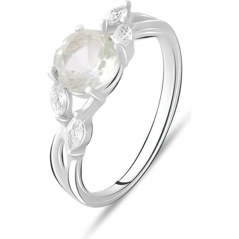 Серебряное кольцо SilverBreeze с натуральным зеленим аметистом 1.558ct (2074861) 18.5 размер