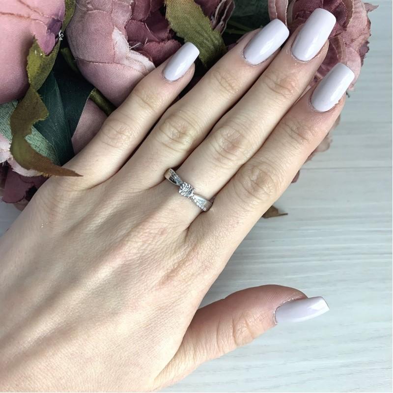 Серебряное кольцо SilverBreeze с натуральными бриллиантом 0.03ct (2074670) 18 размер