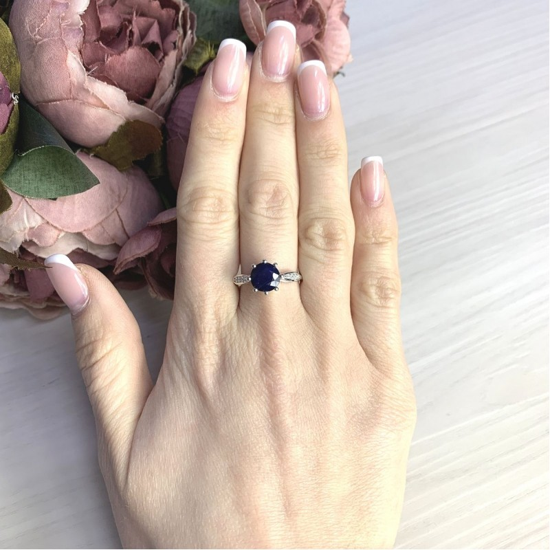 Серебряное кольцо SilverBreeze с натуральным сапфиром 2.61ct (2073123) 17.5 размер