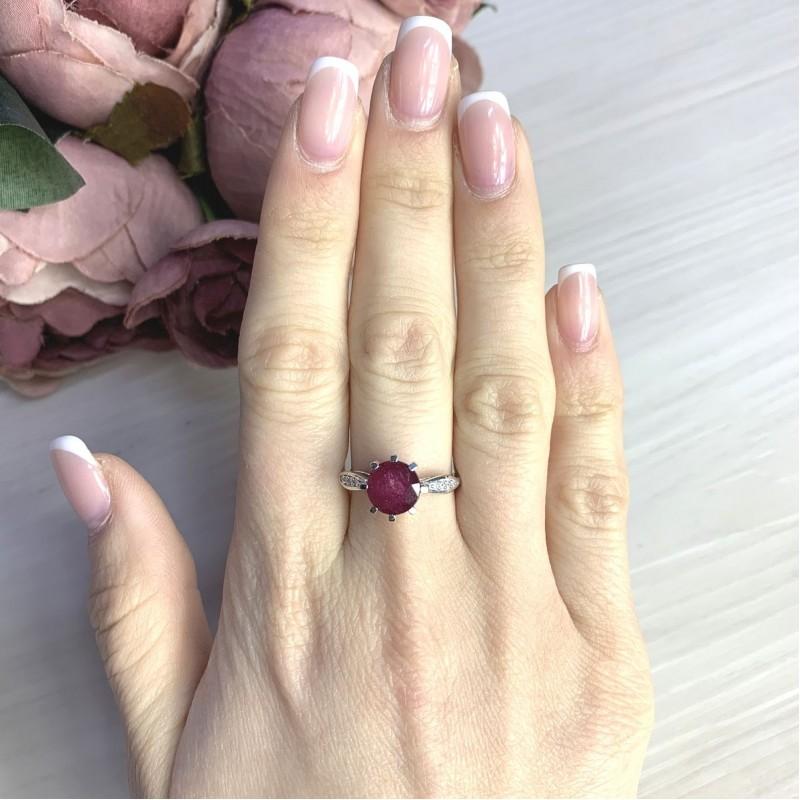 Серебряное кольцо SilverBreeze с натуральным рубином 2.61ct (2073109) 17.5 размер