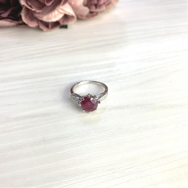 Серебряное кольцо SilverBreeze с натуральным рубином 2.61ct (2073109) 18 размер