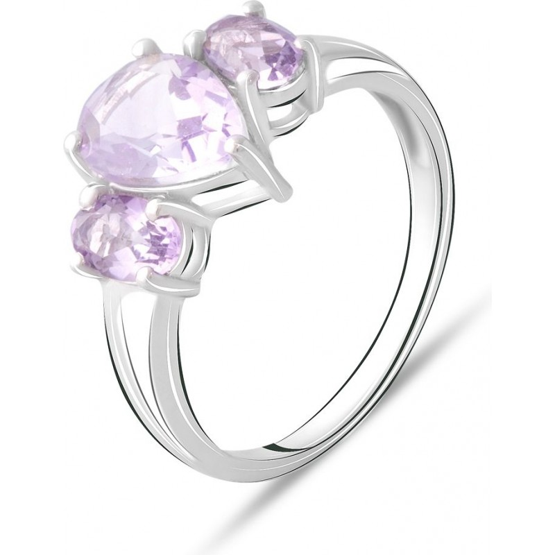 Серебряное кольцо SilverBreeze с натуральным аметистом 2.4ct (2072577) 18.5 размер