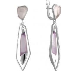 Серебряные серьги SilverBreeze с натуральным аметистом 11.237ct, розовым кварцем (2072416)