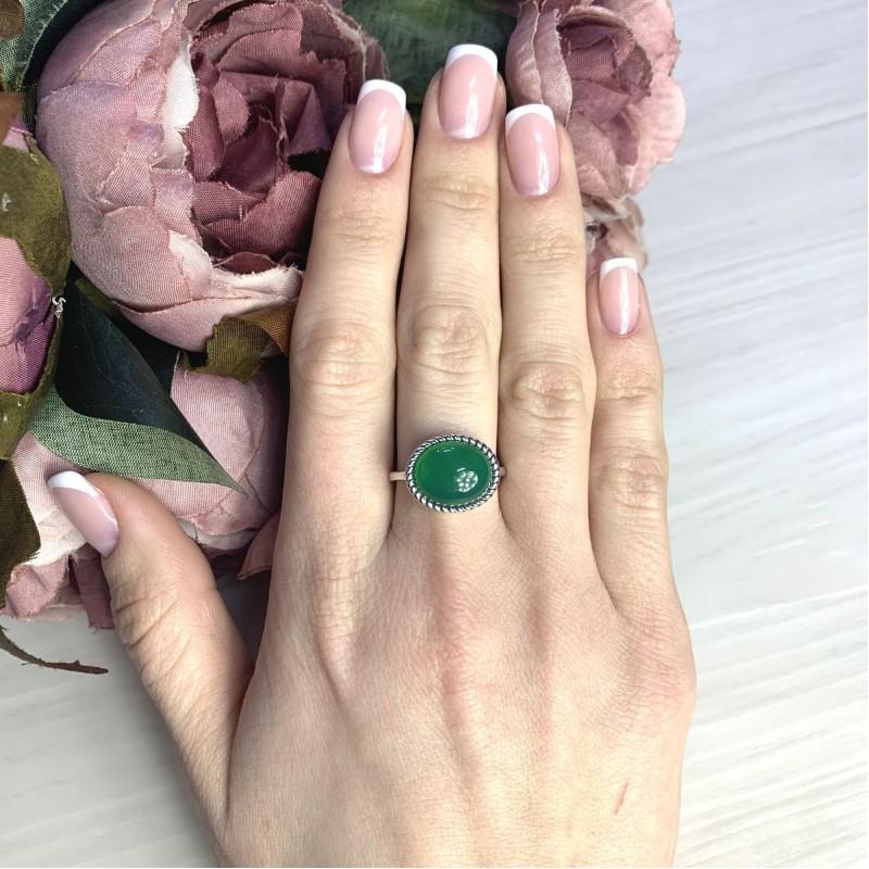 Серебряное кольцо SilverBreeze с натуральным агатом 4.163ct (2072287) 18 размер