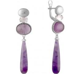 Серебряные серьги SilverBreeze с натуральным аметистом 11.917ct, розовым кварцем (2072256)