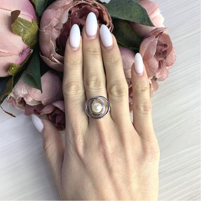 Серебряное кольцо SilverBreeze с натуральным жемчугом барочным (2071396) 17.5 размер