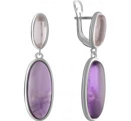 Серебряные серьги SilverBreeze с натуральным аметистом, розовым кварцем (2071198)
