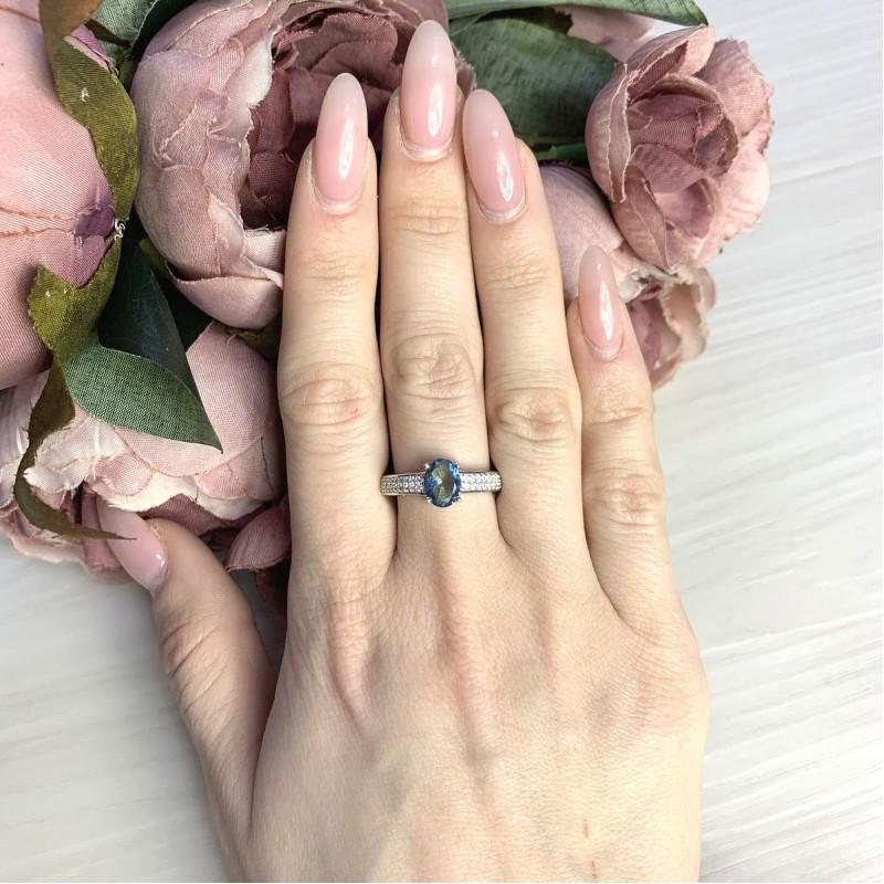 Серебряное кольцо SilverBreeze с натуральным мистик топазом 1.268ct (2071020) 17.5 размер