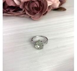 Серебряное кольцо SilverBreeze с натуральным зеленим аметистом 3.112ct (2070726) 17.5 размер
