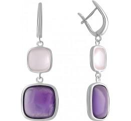 Серебряные серьги SilverBreeze с натуральным аметистом 24.95ct, розовым кварцем (2070443)