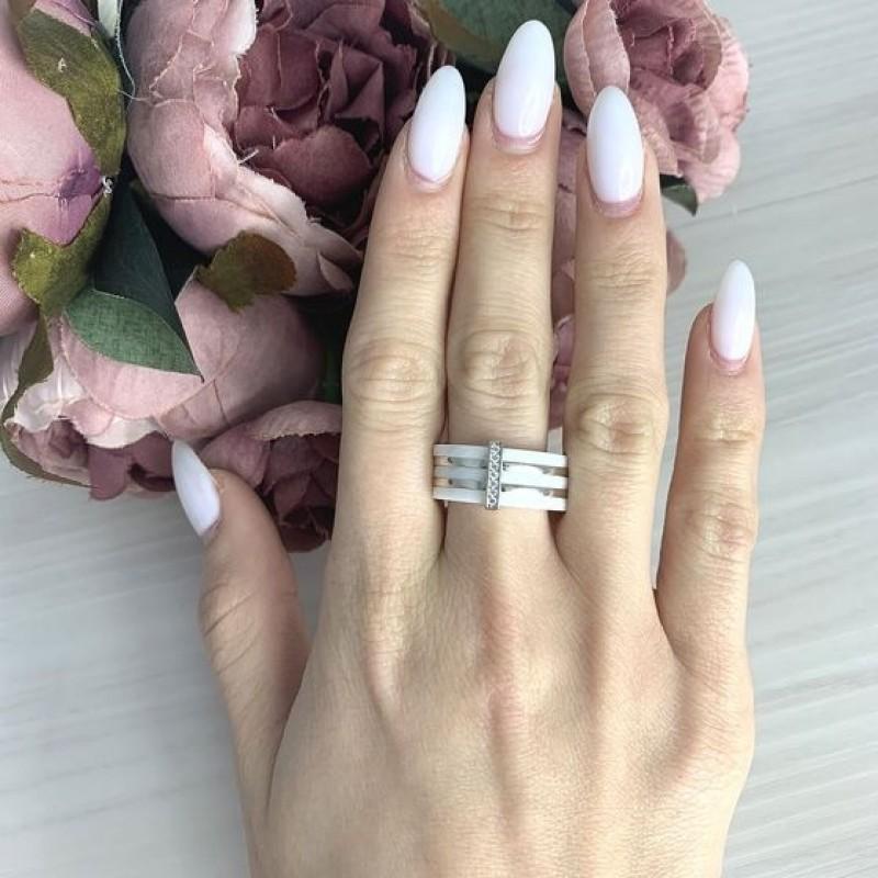 Серебряное кольцо SilverBreeze с керамикой (2070054) 16 размер