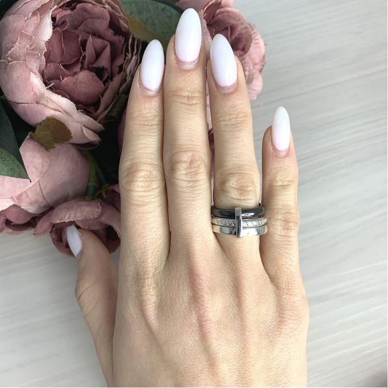 Серебряное кольцо SilverBreeze с керамикой (2070023) 16.5 размер