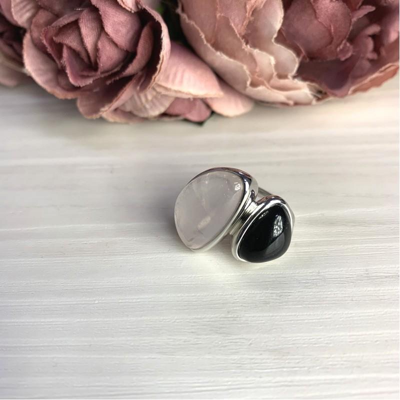 Серебряное кольцо SilverBreeze с натуральным розовым кварцем 15.816ct, ониксом (2069812) 17.5 размер