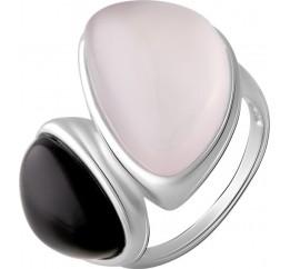 Серебряное кольцо SilverBreeze с натуральным розовым кварцем 15.816ct, ониксом (2069812) 18 размер