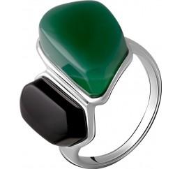 Серебряное кольцо SilverBreeze с натуральным агатом 14.545ct, ониксом (2069799) 17.5 размер
