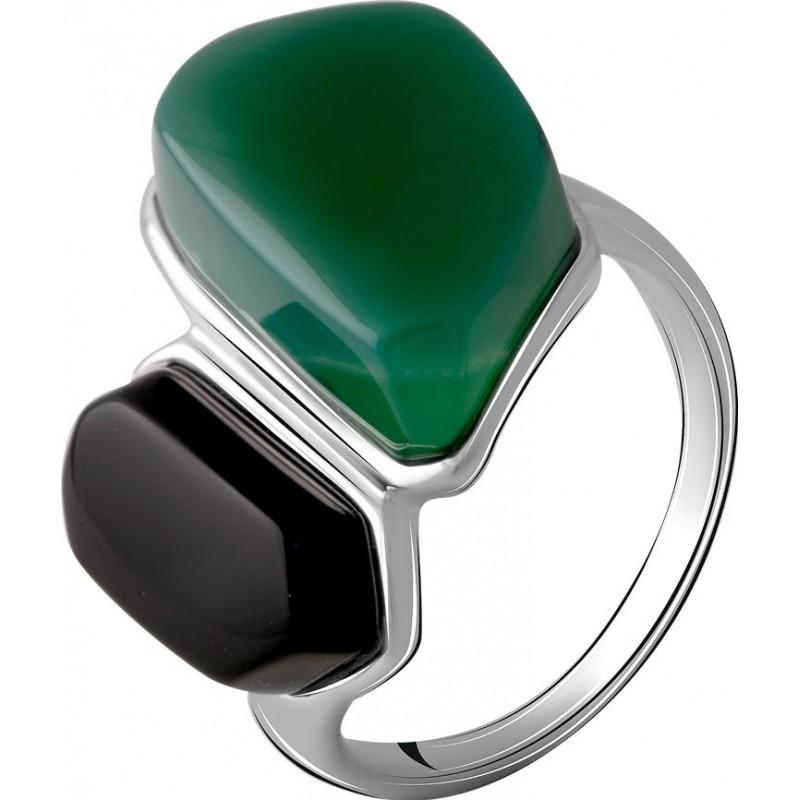 Серебряное кольцо SilverBreeze с натуральным агатом 14.545ct, ониксом (2069799) 19 размер