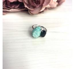Серебряное кольцо SilverBreeze с натуральным амазонитом 8.5ct, ониксом (2069690) 17 размер