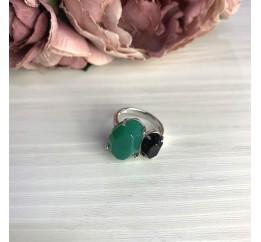 Серебряное кольцо SilverBreeze с натуральным агатом 8.5ct, ониксом (2069638) 18 размер