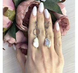 Серебряные серьги SilverBreeze с натуральным жемчугом барочным 27.61ct (2069454)