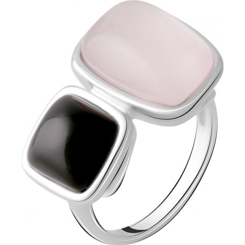 Серебряное кольцо SilverBreeze с натуральным розовым кварцем 9.9ct, ониксом (2068655) 17.5 размер