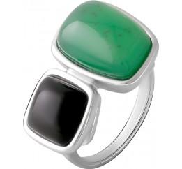 Серебряное кольцо SilverBreeze с натуральным агатом 9.9ct, ониксом (2068631) 17 размер
