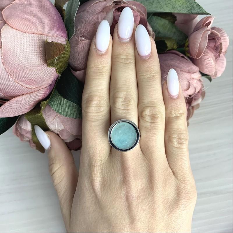Серебряное кольцо SilverBreeze с натуральным амазонитом 3.265ct (2068617) 17.5 размер