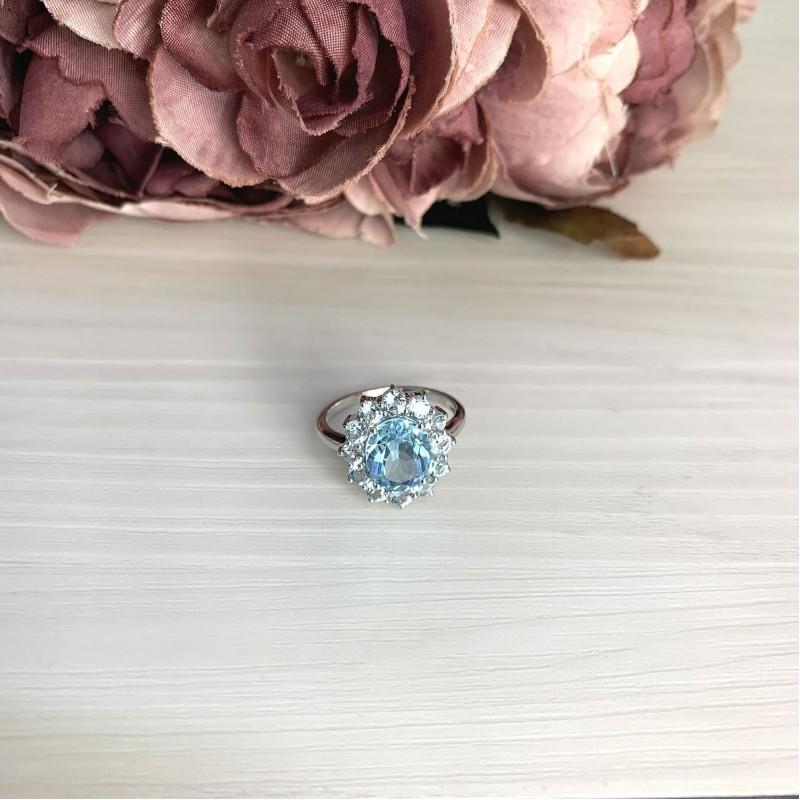 Серебряное кольцо SilverBreeze с натуральным топазом (2067962) 18.5 размер