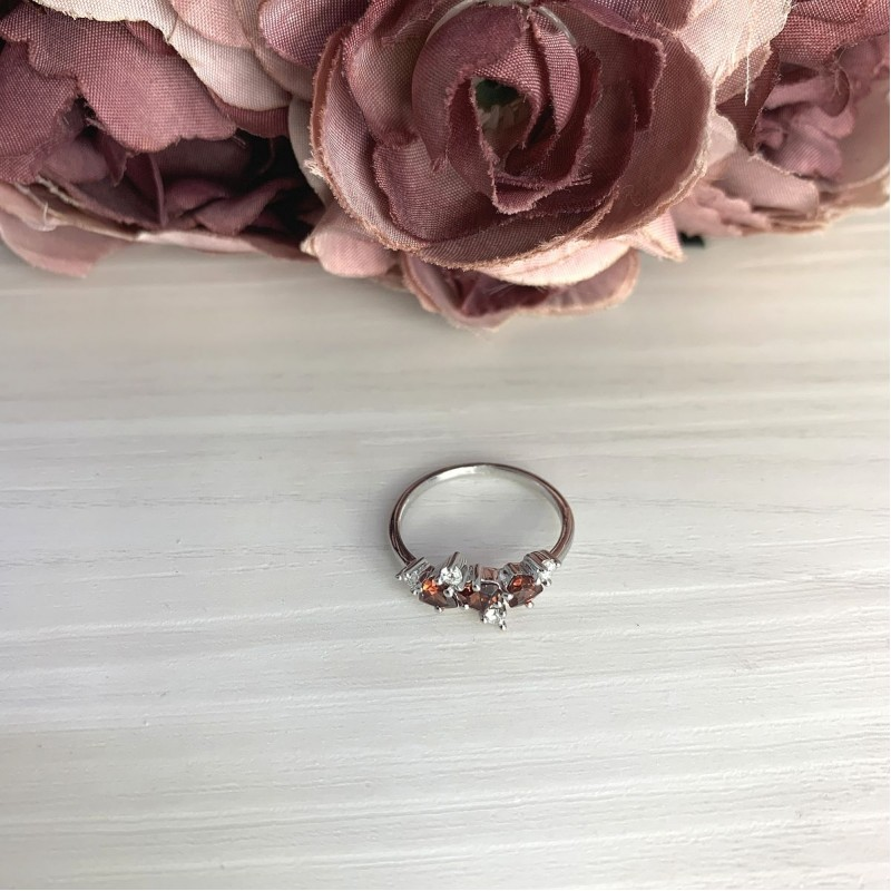 Серебряное кольцо SilverBreeze с натуральным гранатом 0.98ct (2067900) 17.5 размер