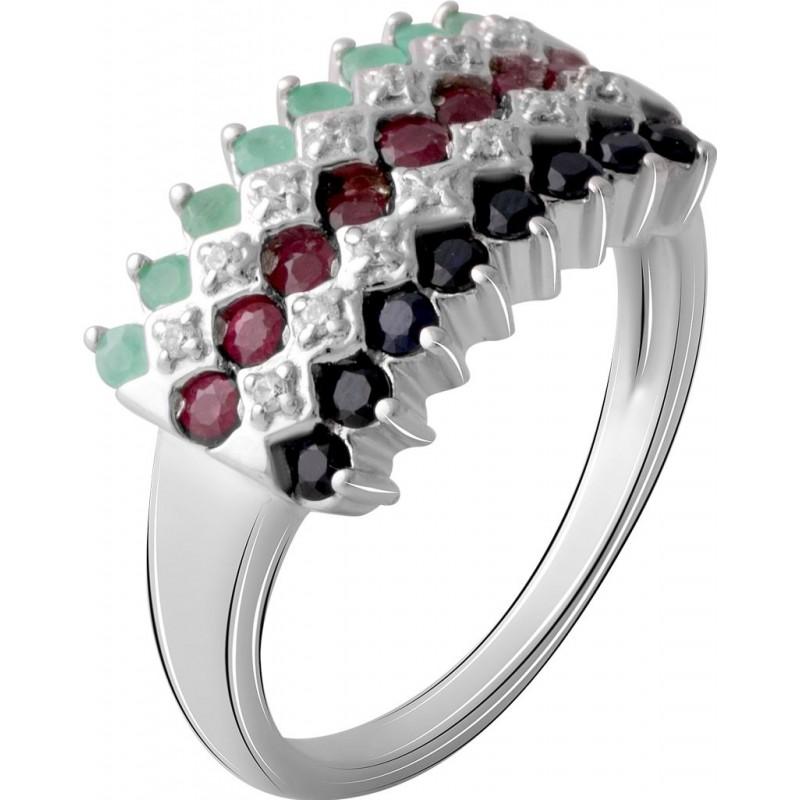 Серебряное кольцо SilverBreeze с натуральным сапфиром, изумрудом, рубином (2067153) 17.5 размер