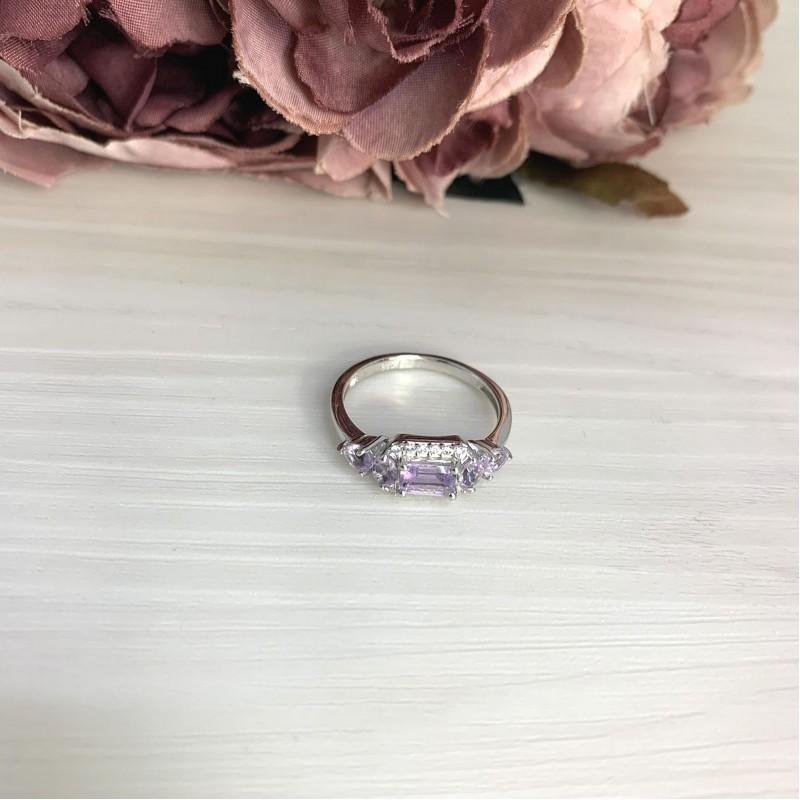 Серебряное кольцо SilverBreeze с натуральным аметистом 1.06ct (2066996) 18 размер