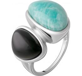 Серебряное кольцо SilverBreeze с натуральным амазонитом 35.421ct, ониксом (2066897) 17 размер