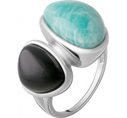 Серебряное кольцо SilverBreeze с натуральным амазонитом 35.421ct, ониксом (2066897) 17.5 размер
