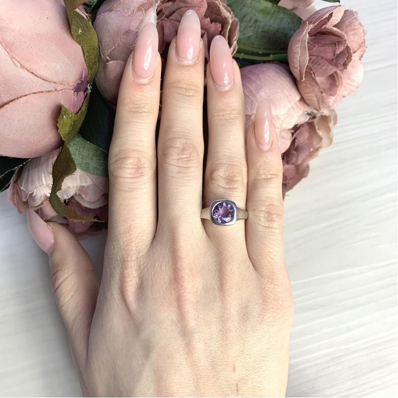 Серебряное кольцо SilverBreeze с натуральным аметистом 1.653ct (2065746) 17 размер