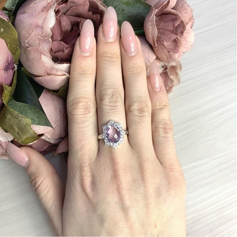 Серебряное кольцо SilverBreeze с натуральным аметистом 2.998ct (2065722) 17 размер