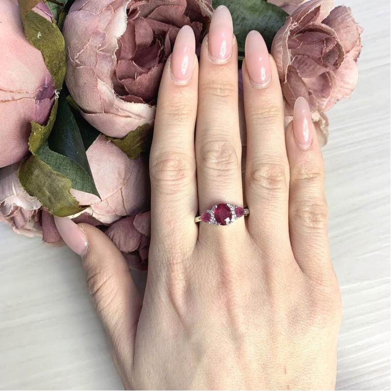 Серебряное кольцо SilverBreeze с натуральным рубином 2.634ct (2065326) 18 размер