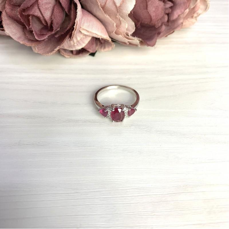 Серебряное кольцо SilverBreeze с натуральным рубином 2.634ct (2065326) 19 размер