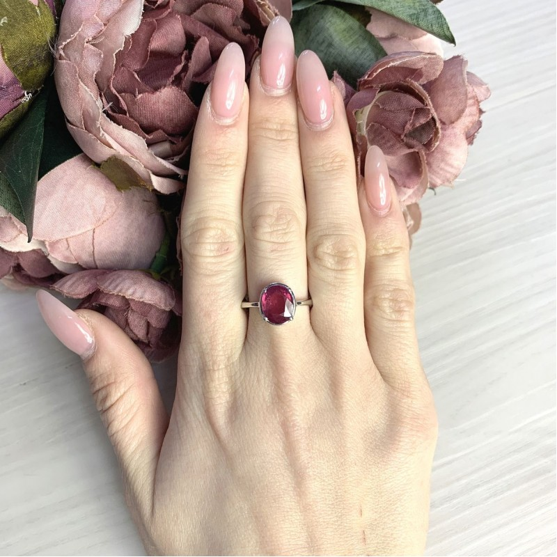 Серебряное кольцо SilverBreeze с натуральным рубином 3.45ct (2065029) 17.5 размер