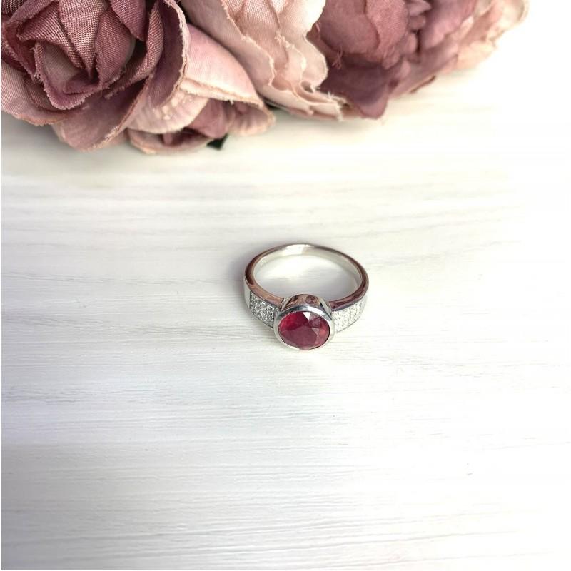 Серебряное кольцо SilverBreeze с натуральным рубином 3.102ct (2065005) 18 размер