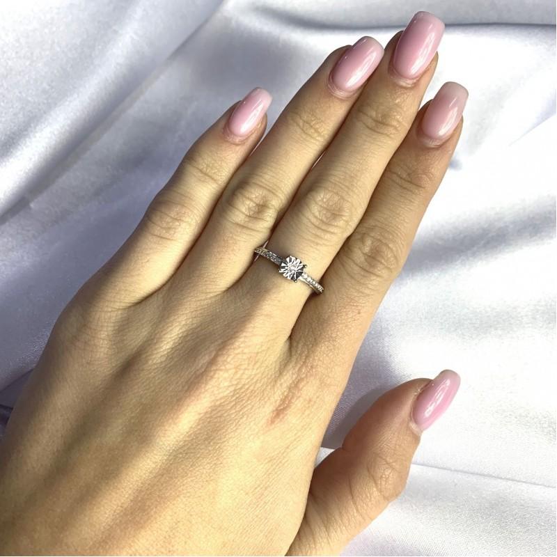 Серебряное кольцо SilverBreeze с натуральными бриллиантом 0.05ct (2064312) 16.5 размер
