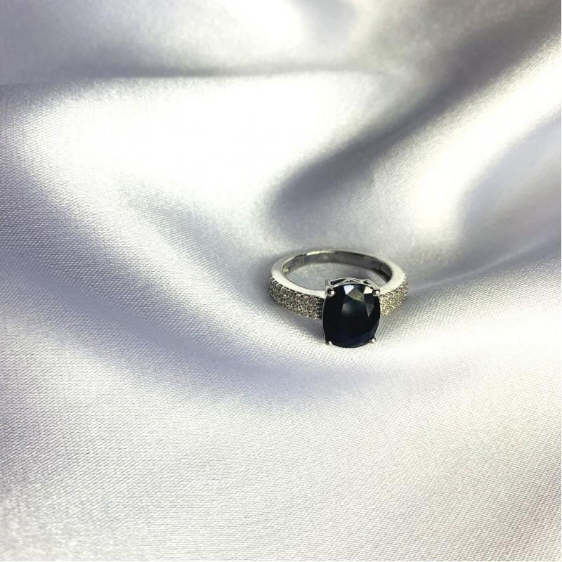 Серебряное кольцо SilverBreeze с натуральным сапфиром 3.878ct (2063124) 18.5 размер