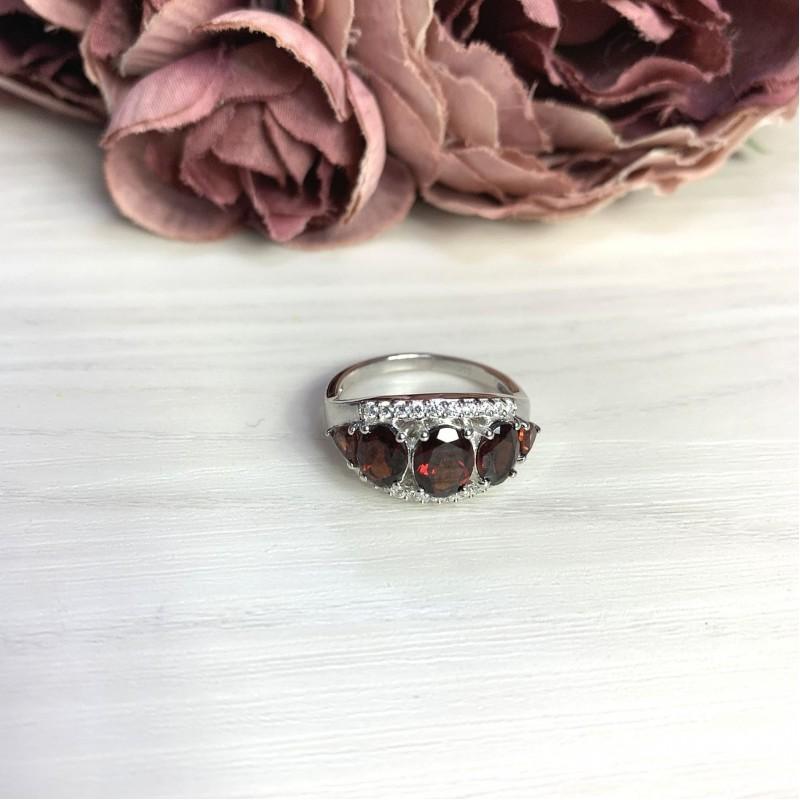 Серебряное кольцо SilverBreeze с натуральным гранатом 4.5ct (2062783) 18 размер