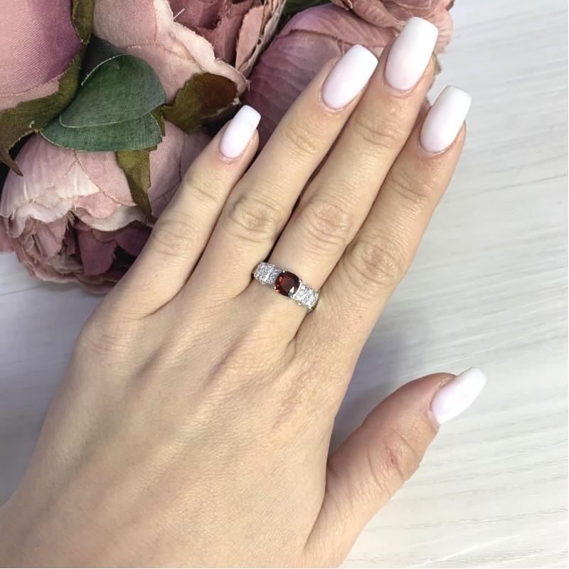 Серебряное кольцо SilverBreeze с натуральным гранатом 1.474ct (2062769) 19 размер