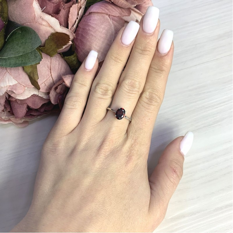 Серебряное кольцо SilverBreeze с натуральным гранатом 1.425ct (2062745) 18 размер