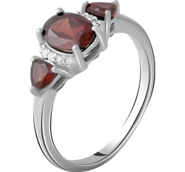 Серебряное кольцо SilverBreeze с натуральным гранатом 2.034ct (2062721) 18 размер